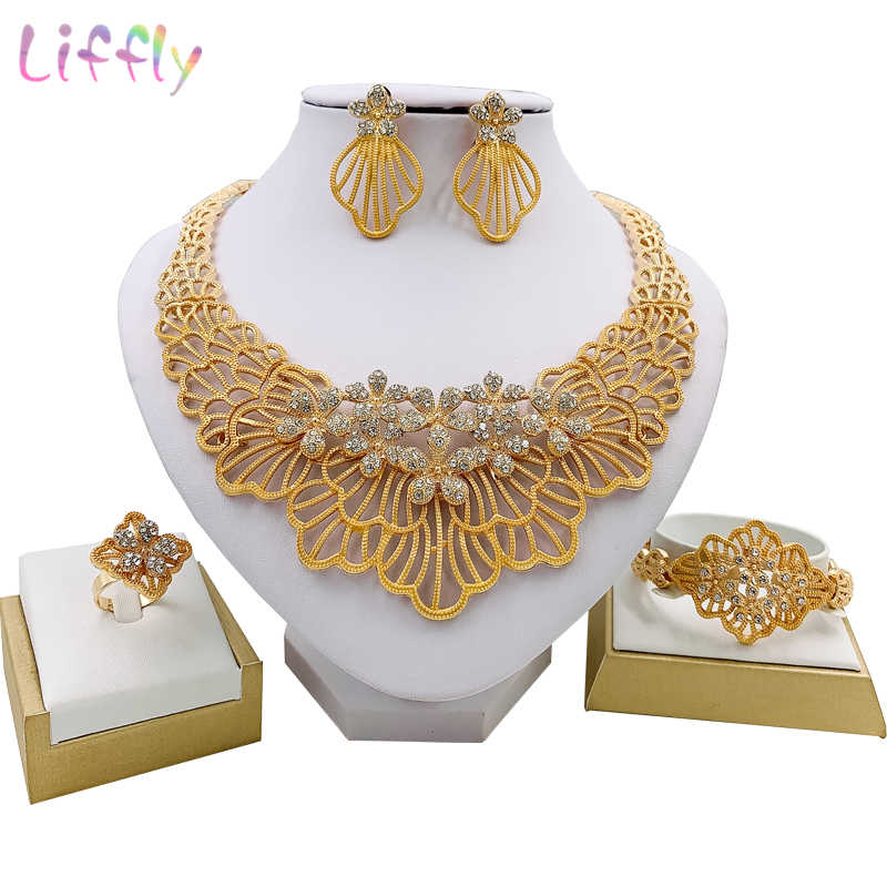 Liffly African Wedding Jewelry Sets Fashion Necklace Earrings Ring Bracelet Crystal Jewelry Charms Flower Shape  Jewelry Set