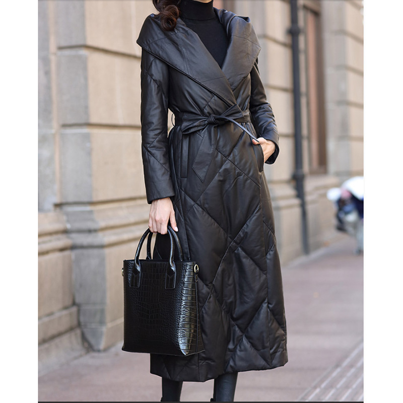 Genuine Leather Jacket Women Sheepskin Duck Down Winter Coat Women Long Jacket for Womens Clothing Manteau Femme 18869 YY782