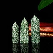 Estante nórdico con punta de cristal mineral hexagonal, piedra natural verde, decoración del hogar, regalo moderno, 1 unidad