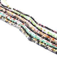 Piedra Natural facetada cuentas dispersas cuerda cuentas encanto para hacer joyería DIY collar pulsera accesorios tamaño 3 4mm