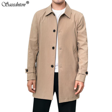 2020 New Men's Business Casual Trench Coat Windbreaker Fashi