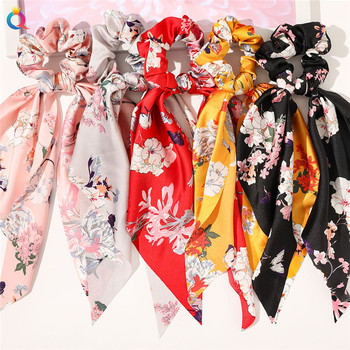 Daisy Print Scrunchies Hair Scarf Bohemia Women Ribbon Hairbands Streamers Bow Rope Ties Holder Ponytail Accessories - discount item  30% OFF Headwear
