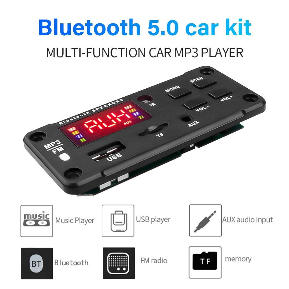 Bluetooth 5.0 5V 12V MP3 Player WMA Decoder Board Audio Module USB SDD AUX FM Audio Radio Player Module For Car Accessorie