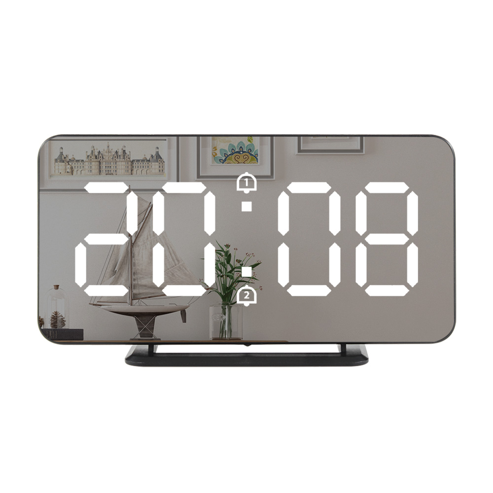 Digital LED Alarm Clock Snooze Display Time Night Led Table Desk USB Charger Ports For  Androd Phone Alarm Mirror Clock