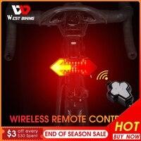 Kablosuz uzaktan kumanda dönüş sinyali bisiklet ışığı MTB yön göstergesi akıllı LED bisiklet arka lambası USB şarj edilebilir bisiklet arka lamba