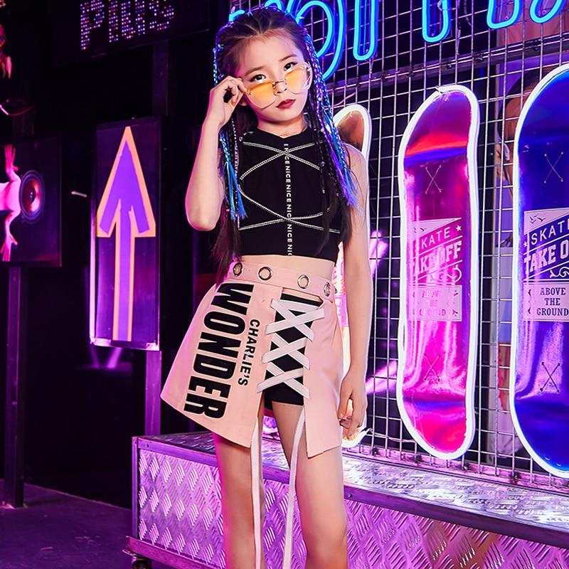 Children Model Catwalk Show Costume Girls Jazz Dress Kids Hip Hop Performance Stage Outfit Modern/Street Dance Clothing DQL1887
