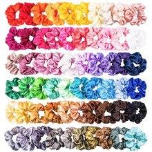 60/28 шт, одноцветные шелковые Сатиновые резинки для волос для женщин или девочек, ювелирные изделия для волос, лента для волос, подходит для женских резинок для волос «конский хвост»