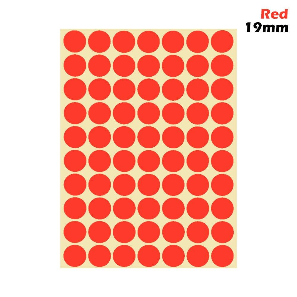 1 лист 10 мм/19 мм цветные наклейки в горошек круглые круги точки бумажные клеящиеся этикетки офисные школьные принадлежности - Цвет: red 19mm