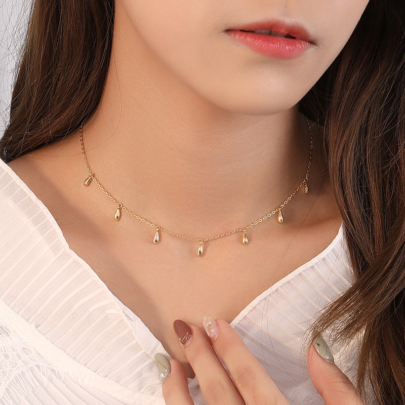 Silvology Gold Seed Water Drop Choker Necklace 925 Sterling Silver Original Elegant Necklace For Women Luxury Jewelry Designers