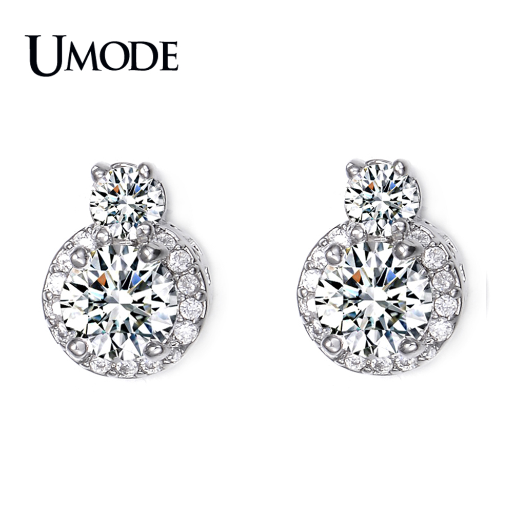 UMODE Wholesale Women's Fashion Jewelry Stores Rhodium plated Post Earings With Clear AAA+ CZ  Stud Earrings AUE0095
