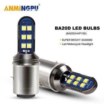 ANMINGPU 1X Motorcycle Headlight Bulbs Led H6 BA20D 12V 3030Chips H4 Led Hi/Low Beam Moto Headlight Lamp P15D Led Bulb 24V 6000K