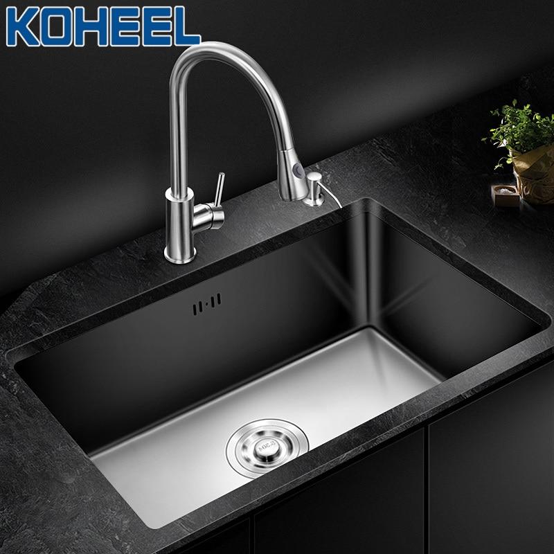 KOHEEL Kitchen Sinks Single Bowl Sinks Undermount Kitchen Sink Handmade Single Bowl Brushed Stainless Steel  Big Range FKS03