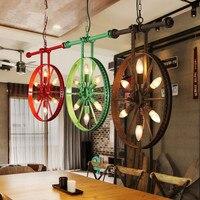 Wheel Chandelier Vintage Industrial Wind Creative Cool Restaurant Box Studio Internet Cafes Bar Coffee Living Room Lamps