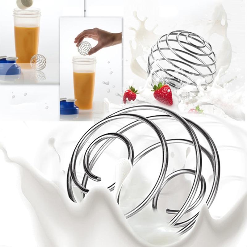 Высококачественный шарик с венчиком из нержавеющей стали, смешанный шейкер для протеина, бутылка для воды для фитнеса, сок, миксер для молок...