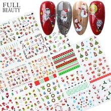 Adhesivos para uñas de Papá Noel, calcomanías para arte de uñas navideñas con flores de copo de nieve, deslizadores adhesivos de invierno para manicura CHBN/A 1