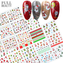 Xmas Cool Santa Stickers For Nails Snowflake Flowers Nail Christmas Stickers Nail Art Winter Adhesive Sliders Manicure CHBN/A 1