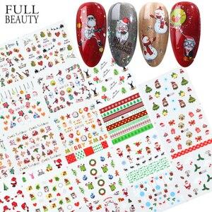Image 1 - Xmas Cool Santa Stickers Voor Nagels Sneeuwvlok Bloemen Nail Kerst Stickers Nail Art Winter Lijm Sliders Manicure CHBN/A 1