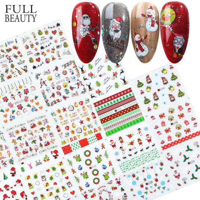 Xmas Cool Santa Stickers Voor Nagels Sneeuwvlok Bloemen Nail Kerst Stickers Nail Art Winter Lijm Sliders Manicure CHBN/A 1