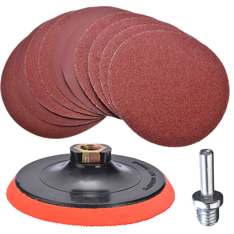10pcs Sanding Disc Set  Hook and Loop 125mm Sand Paper with Backing Pad Drill Adaptor For Polishing Cleaning Tools|Sanding Discs| |  - title=