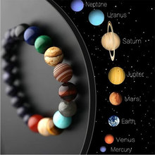 Natural Stone Energy Bracelet Universe Chakra Galaxy Solar System Eight Planets Yoga Beads Bracelets for Men Women Jewelry