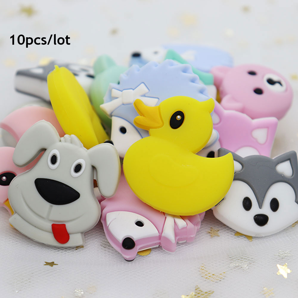 10Pcs Fox Duck Perle Silicone Beads Bear Baby Teether Bead BPA Free Teething Necklace Toys Animal Mordedor Silicona Baby Product