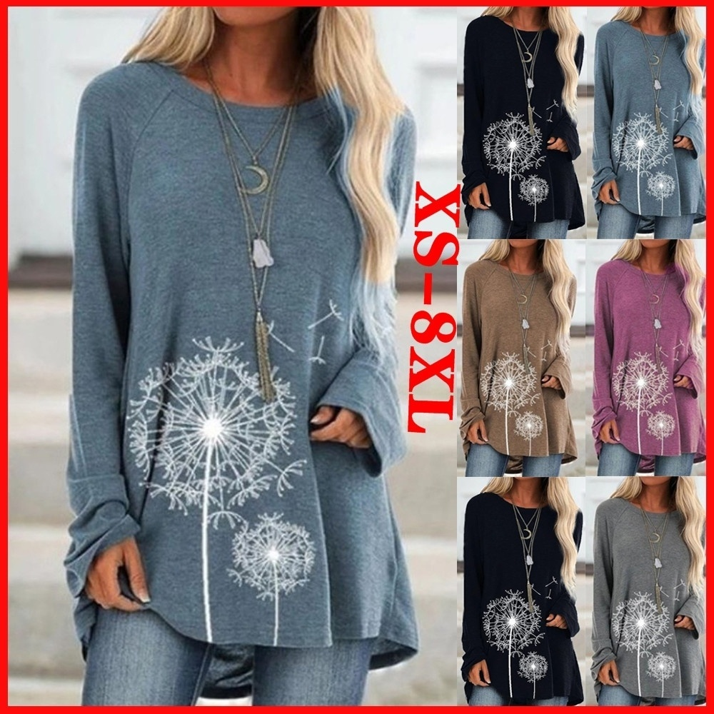 Women Fashion Clothes Flower Printed Casual Round Neck Long Sleeve Loose Cotton T-shirts Pullover Tunic Plus Size XS-8XL(China)