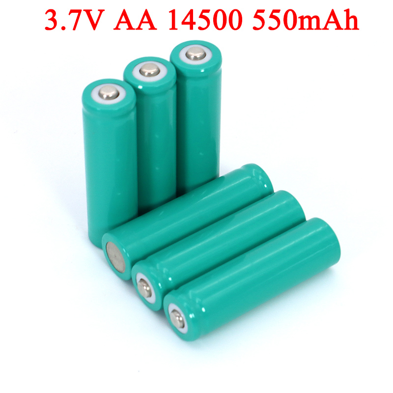4pcs <font><b>3.7V</b></font> AA <font><b>550mAh</b></font> Lithium <font><b>battery</b></font> INR14500 ternary lithium <font><b>batteries</b></font> for temperature gun, remote control, mouse + Pointed image