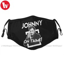Johnny Hallyday Mouth Face Mask Johnny On T Aime Facial Mask Fashion Funny with 2 Filters for Adult