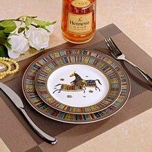 European Style Horse Ceramic Dinner Set Porcelain Gold Inlay Dessert Plate Steak Salad Snack Cake Plates Tableware Free Shipping