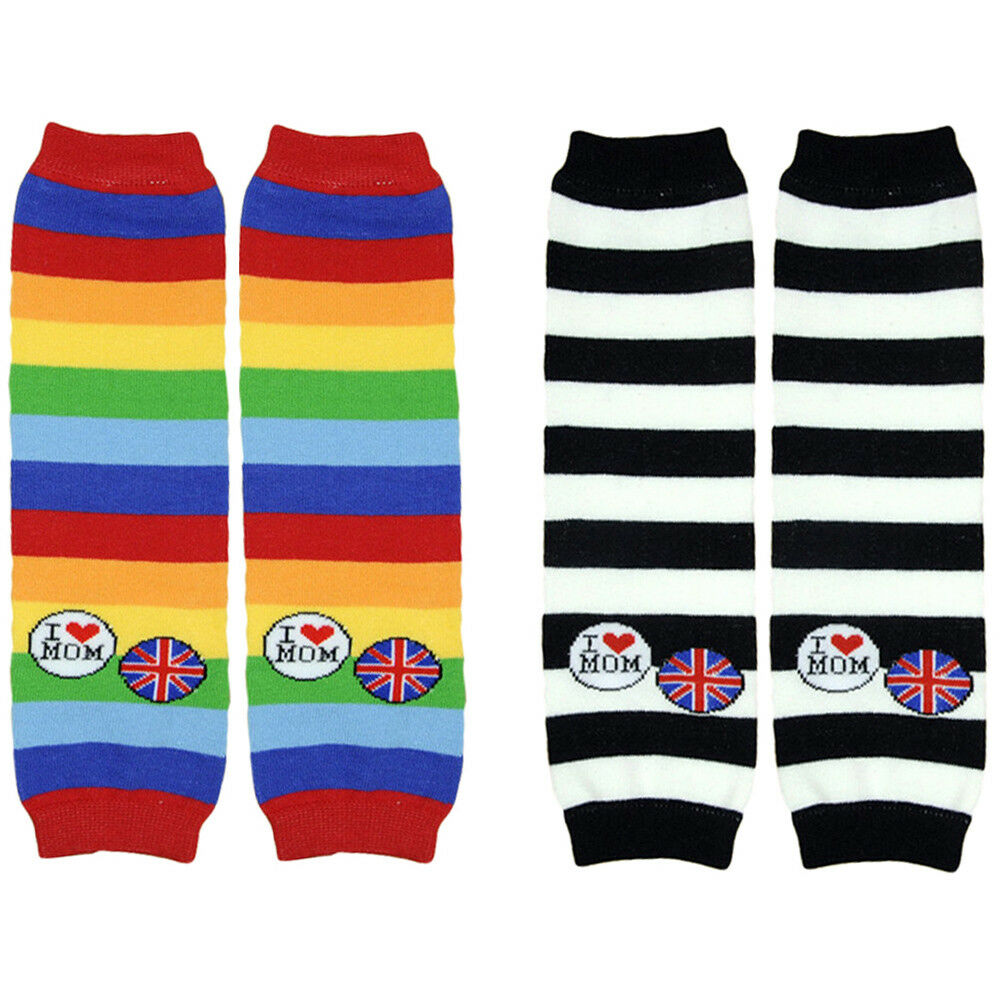 Cute Baby Kid Boy Girl I LOVE MOM Flag Stripe Socks Tights Arm Leg Warmers WATXW0030