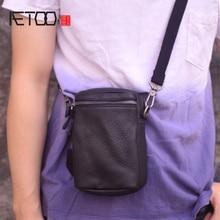 где купить AETOO Men's mini bag, leather one-shoulder slanted bag, head leather men's simple bag по лучшей цене