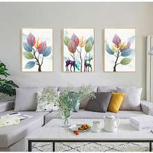 Abstract Deer and Colorful Leaves Canvas Paintings Poster Print Nordic Style Wall Art Pictures for Living Room Bedroom Home Déco(China)