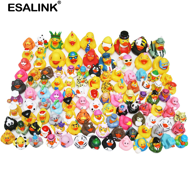 ESALINK Random Children Bathing Toy Floating Rubber Ducks Squeeze Sound Duck For Baby Shower 10/20/50/100Pcs Random Style