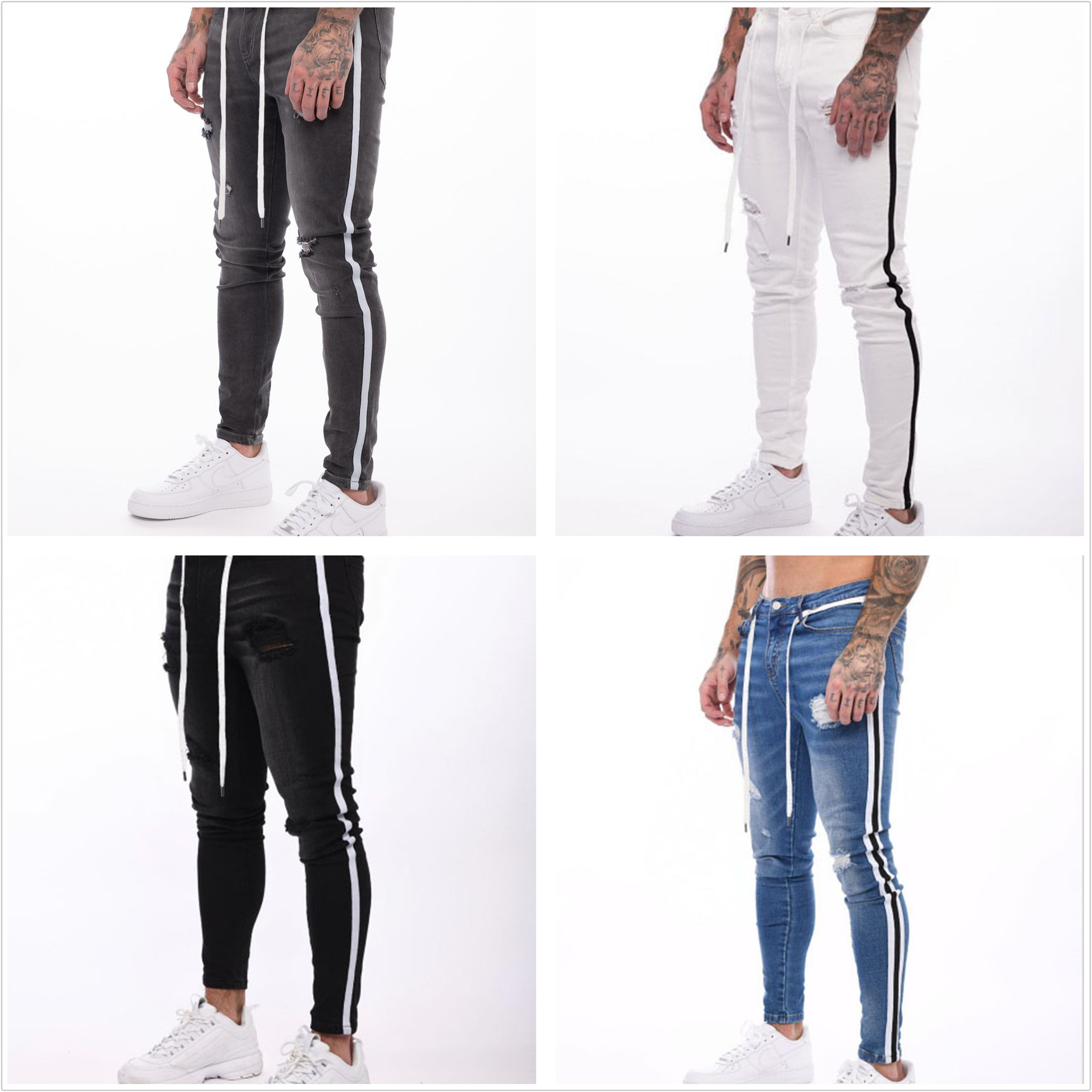 Men's Skinny Stretch Ripped Jeans HipHop Distressed Skinny Slim Fit Jean Pants Damaged Denim Pants Street ropa de hombre jeans