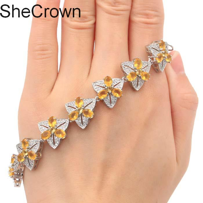 Hot Sell Flowers Golden Citrine CZ Ladies Engagement Silver Bracelet 7 5 8 0in 15x15mm