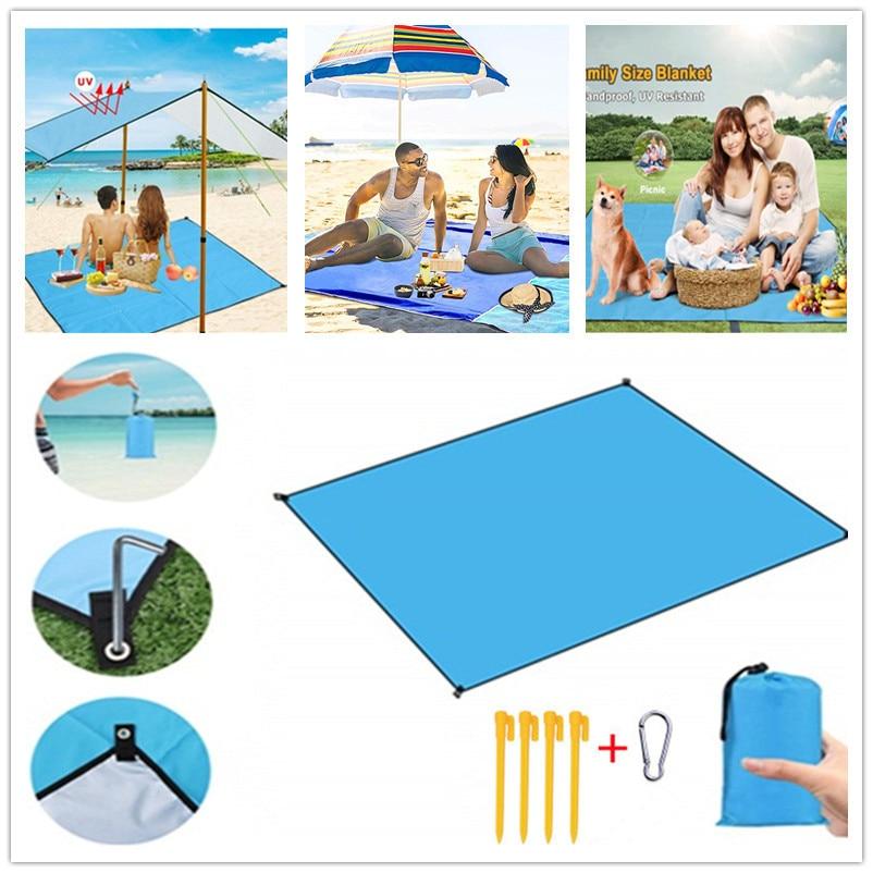 Large Beach Mat 210x200cm Magic Beach Quick Drying Sand Cushion Family Outdoor Blanket Picnic Mat Camping Mat Breathable Soft