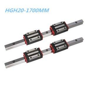 Guía lineal de 20mm HGH20 1700mm 2 pc + bloque de rieles lineales HGH20CA/HGW20CC 4 pc para CNC router