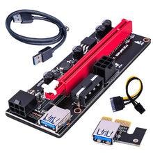 6pin pci-e riser adaptador placa de extensão cabo usb3.0 adaptador placa gráfica riser extensor pcie1x a 16x 009s led mineração