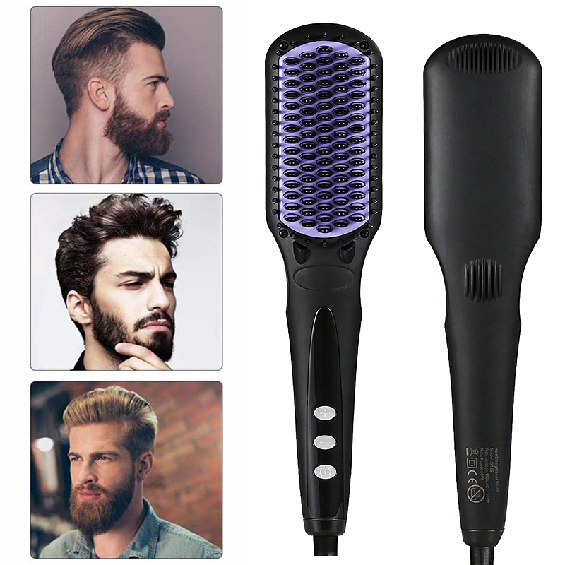 Max 450F 110v/220v Professional Flat Iron Smoothing Beard Straightening Brush Ceramic Hair Straightener Comb LCD Digital Display