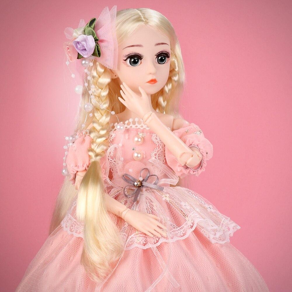 "18/"" BJD SD Toddler Reborn Baby Girl Doll Plastic Toys Hair Kids Accompany Gift"