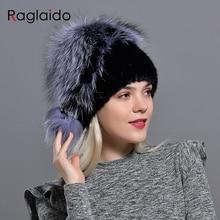 Зимняя шапка из норки, женская вязаная шапка из лисьего меха с помпоном, теплая шапка с цветочным принтом, модный пушистый элегантный женский подлинный натуральных мех, шапки