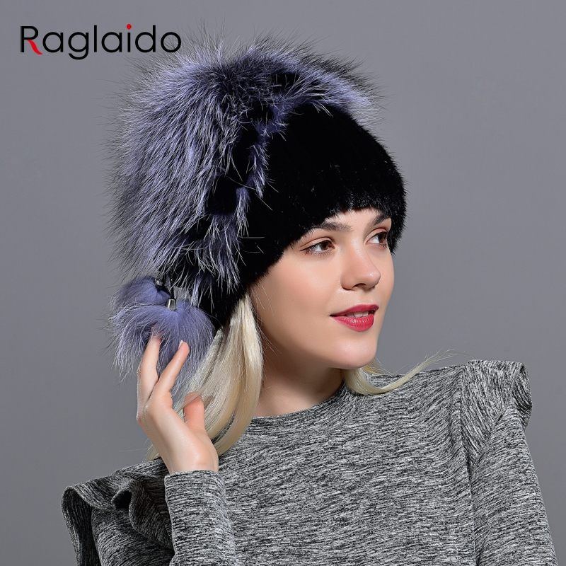 Winter Hat Mink Women Knitted Fox Fur Pompom Warm Cap Floral Fashionable Fluffy Elegant Female Genuine Natural Fur Hats Caps