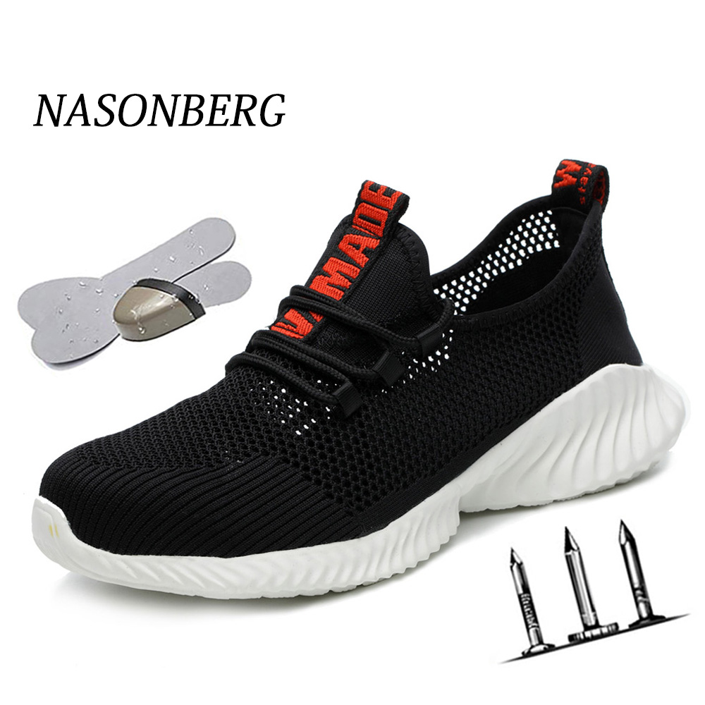 NASONBERG Mens Steel Toe Work Safety Shoes Lightweight Breathable Anti-smashing Anti-puncture Anti-static Protective Boots