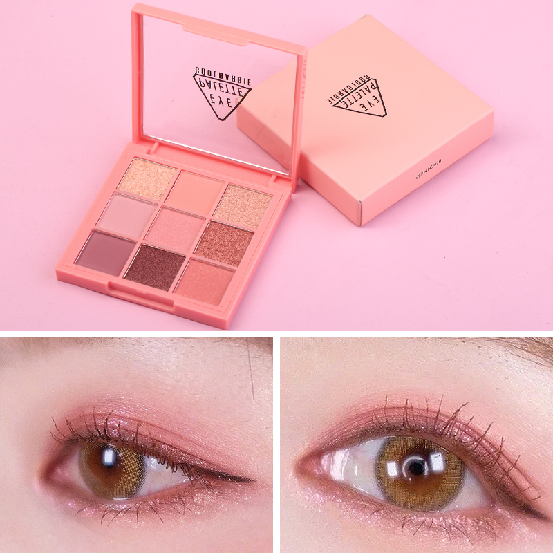 9 Color Pink Beauty Glazed Makeup Eyeshadow Pallete Makeup Brushes Shimmer Pigmented Eye Shadow Palette Make Up Palette