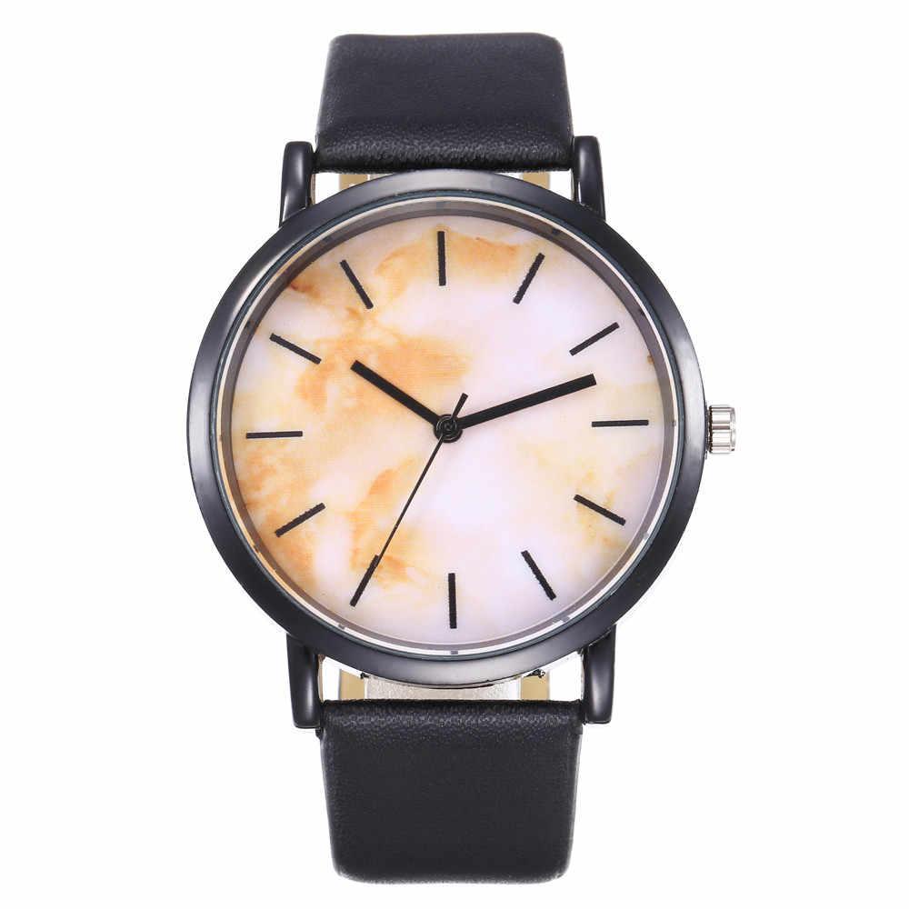 Fashion Wrist Watch Women Watch Ladies Quartz Wristwatches Marble Woman Clock Female Hours Hodinky Montre Femme Large Dial PU
