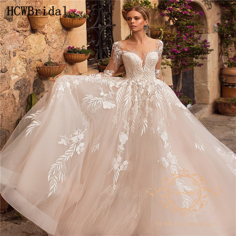 Gorgeous Long Sleeves Sheer Lace Wedding Dresses A Line See