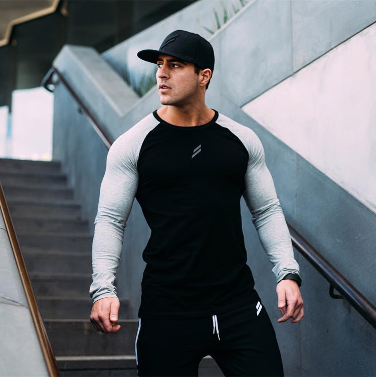 Mens Long Sleeve T Shirts Spring Summer Slim Shirts Male Tops Leisure Bodybuilding Long Sleeve Personality Tees