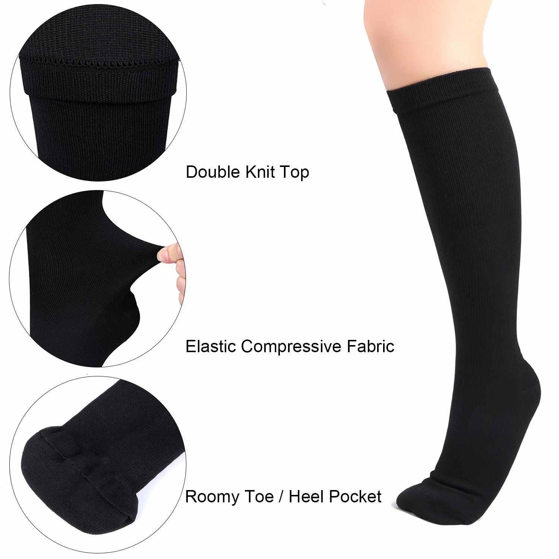 Kompression Strümpfe Einfarbig Druck Krampfadern Strumpf Knie Hohe Bein Unterstützung Stretch Druck Durchblutung Unisex Socke