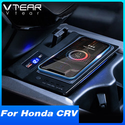 Vtear Car QI Wireless Charger For Honda CRV CR-V Accessories 2020-2017 Interior Modification 15W Fast Phone Charging Plate
