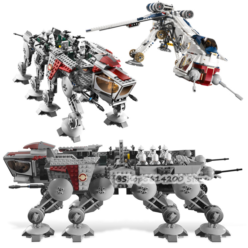05053 1788Pcs Genuine StarWarss Republic Dropship with AT-OT Walker Set Building Blocks Bricks Compatible Lepining <font><b>10195</b></font> Toys image